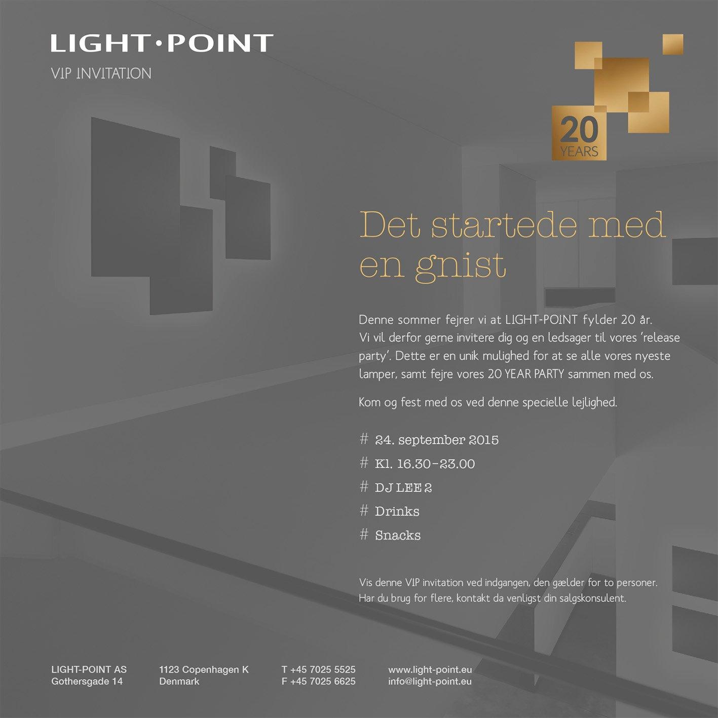 Invitationskort, flyer design for Light-Point